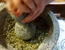 Grinding yarrow for Stop the Cough Tea